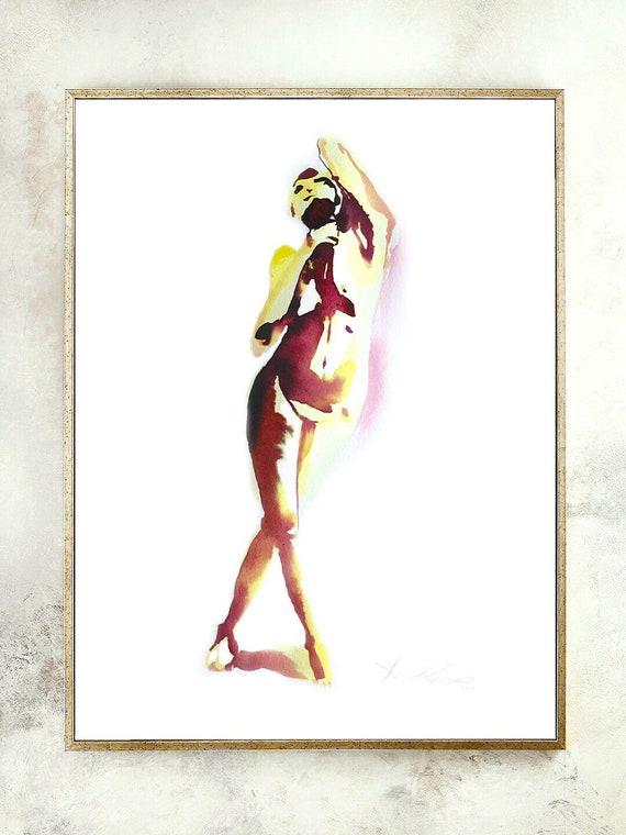 Abstract dancer, watercolor dancer, rustic decor, modern decor, abstract figures, abstract wall art, flowing dancer, ballerina painting