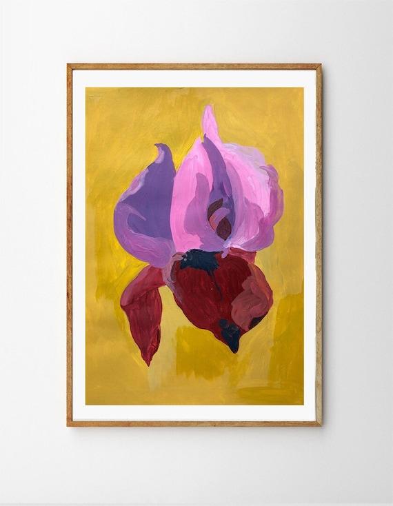Original, floral painting, female symbol, female floral, 11x14, flower print, original painting, pink painting, floral print, indigo dye