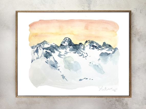 Mountain watercolor, Colorado painting, mountain art, landscape watercolor, mountain painting, mountain art, wall art, pink floral