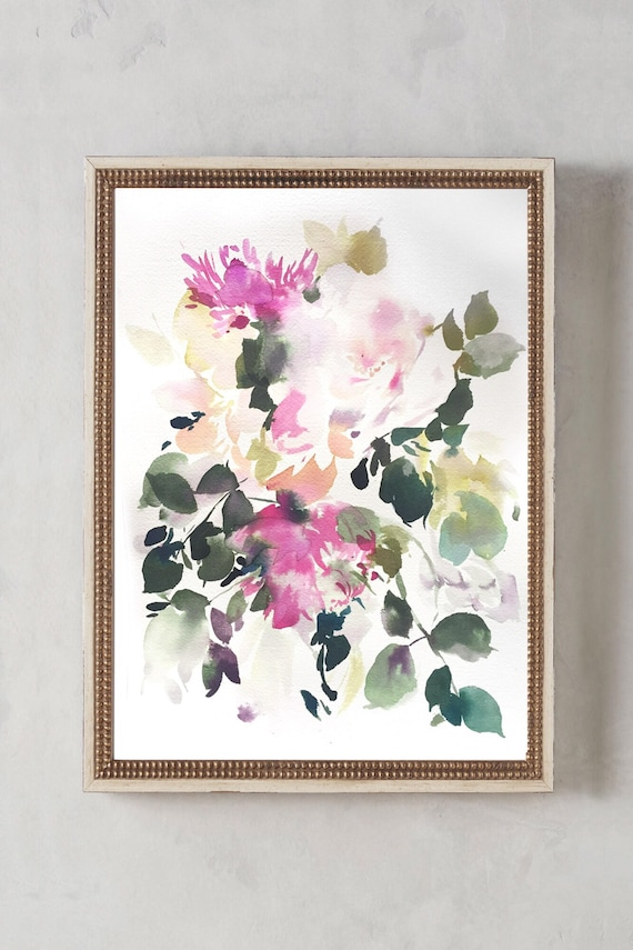 "Original 12"" x 16"", peony painting, watercolor, peony art, floral painting, abstract floral painting, floral print, floral art, wall art"