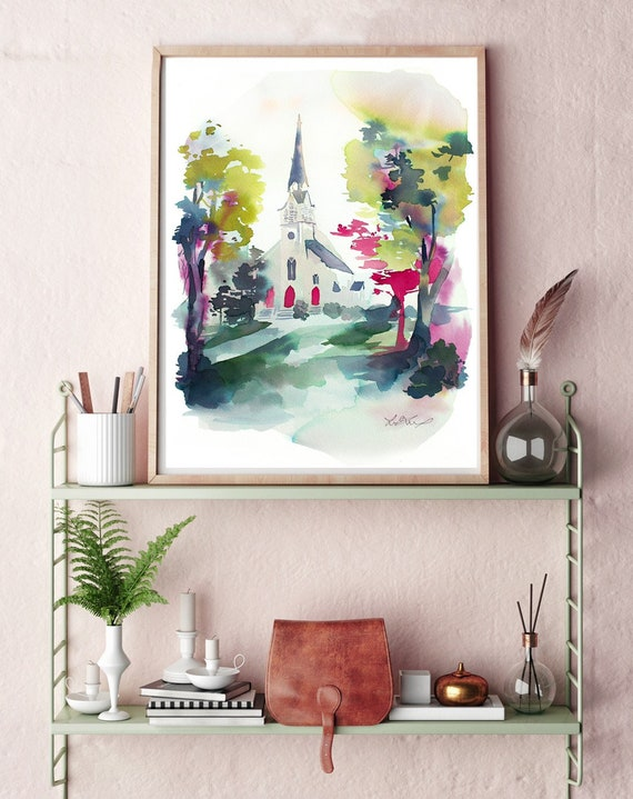 Original, church painting, chapel watercolor, chapel painting, wedding painting, watercolor painting, landscape watercolor