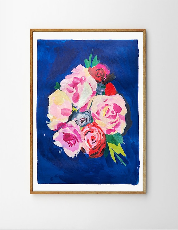 Mother's Day gift, flower bouquet painting, floral painting, abstract florals, blue and pink floral painting, blue and oink bouquet