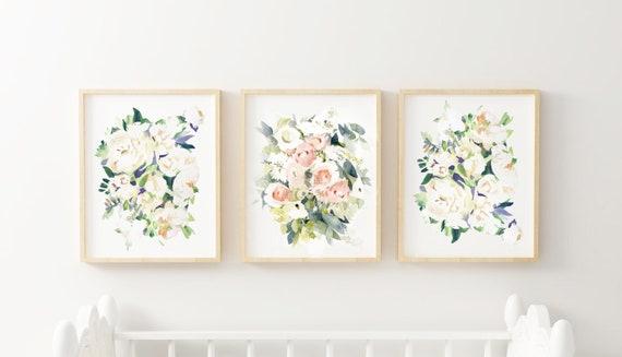 Pastel watercolor nursery, floral watercolor nursery paintings, pink flower nursery, pink pastel baby room, pink and green baby room, pastel