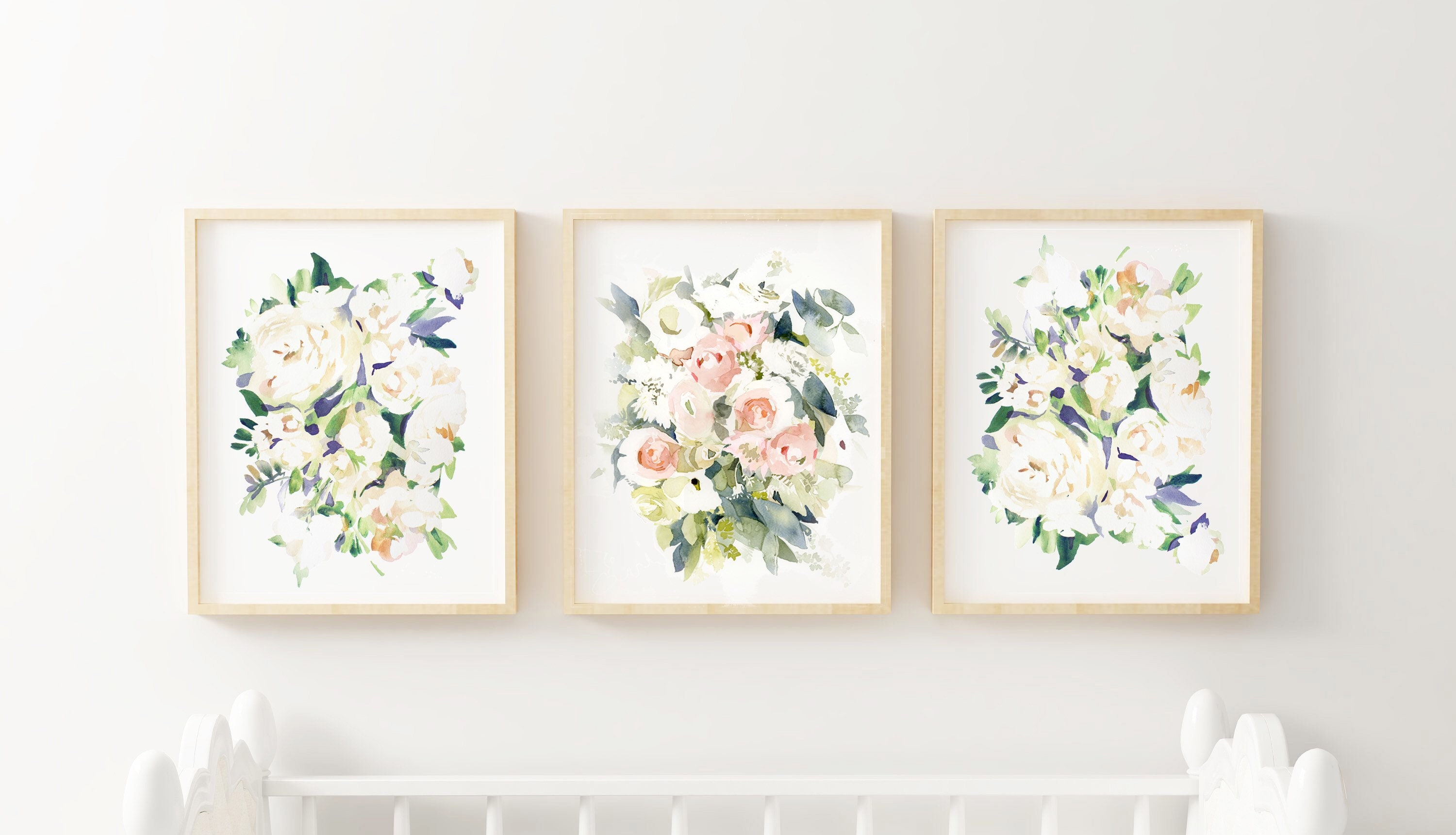 Pastel Watercolor Nursery Floral Watercolor Nursery Paintings Pink Flower Nursery Pink Pastel Baby Room Pink And Green Baby Room Pastel