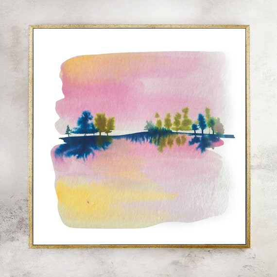Pink landscape, pink mountain painting, mountain art, landscape watercolor, mountain painting, mountain art, wall art, pink mountains