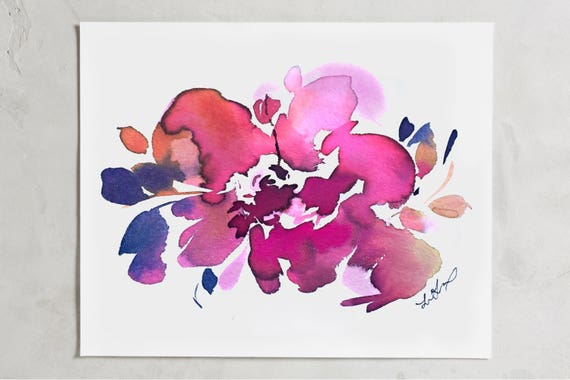 "Original painting 5""x7"", floral art, original, floral painting, watercolor florals, abstract floral painting, peony painting, wedding flower"