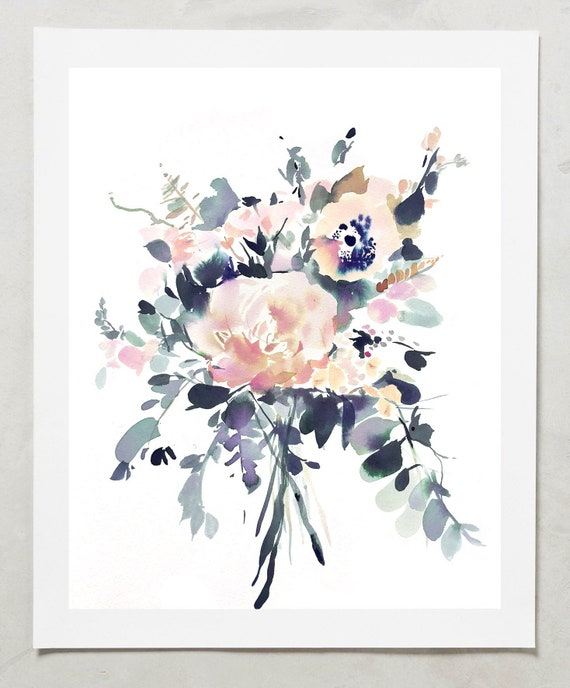 Wedding bouquet painting, custom commission, custom floral painting, floral painting commission, original floral artwork