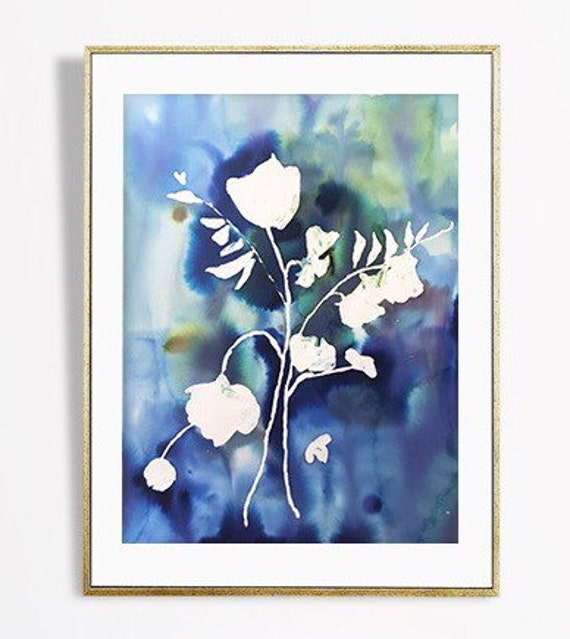 "Original blue floral, 30"" x 22"", painting, watercolor, indigo, indigo art,watercolor, abstract floral, floral pint, floral art, wall art"