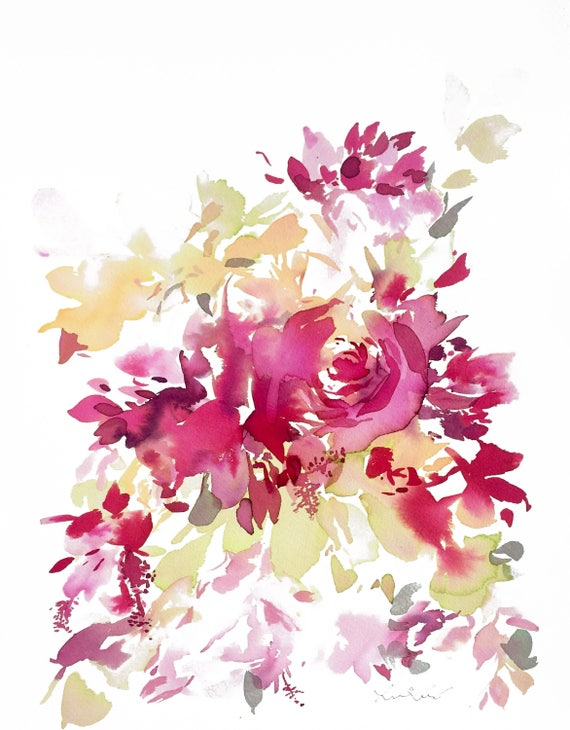 Watercolor Print, pink floral, watercolor, peony art, peony watercolor, abstract floral painting, floral pint, floral art, wall art