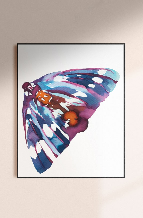 Butterfly print, moth watercolor, butterfly print, insect painting, abstract butterfly, blue wings, wall art, abstract watercolor painting