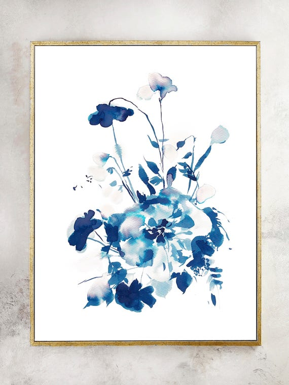 Original, Indigo painting, indigo dye, indigo floral, Watercolor print, original painting, blue painting, floral print, wedding shower