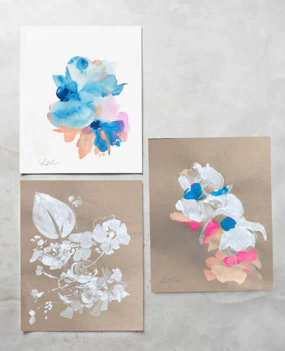 Original, brown paper, white floral, abstract floral, 11x14, floral print, original painting, white painting, floral print, Rustic decor