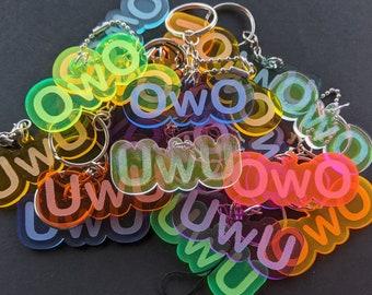 OwO UwU Keychain, charm, or necklace || custom color choice || laser-cut acrylic