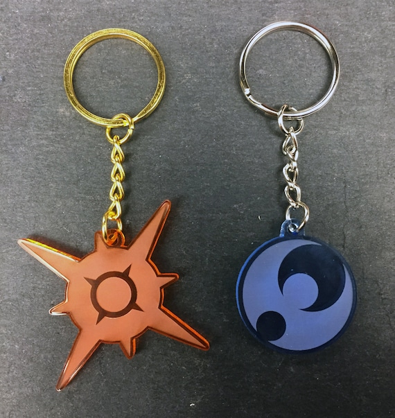 Pokmon Sun Moon Symbol Keychain Laser Cut Acrylic Etsy