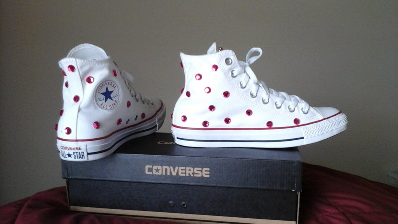159250e0c0a1 Custom White Converse Chuck Taylors with Pink Rhinestone Gems