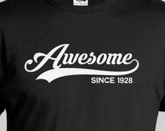 90th Birthday Gift Ideas For Men Custom Shirt Bday T Personalized TShirt B Day Awesome Since 1928 Mens Ladies Tee