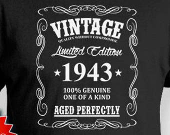 75th Birthday T Shirt Gifts For Him Personalized Bday Gift Ideas Vintage 1943 Aged Perfectly Mens Tee