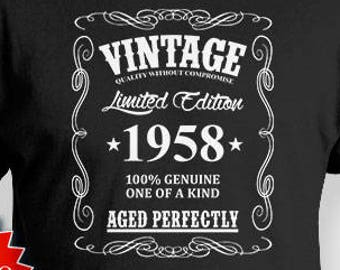60th Birthday Gift Ideas For Him T Shirt Custom Bday Present Vintage 1958 Aged Perfectly Mens Tee