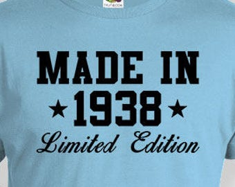 80th Birthday Gift Ideas For Him Bday Presents Her Custom Shirt T Made In 1938 Mens Ladies Tee BG487
