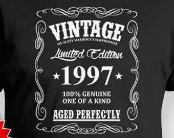 21st Birthday Shirt For Him Bday Gift Ideas Men T Custom Vintage 1997 Aged Perfectly Mens Tee BG380