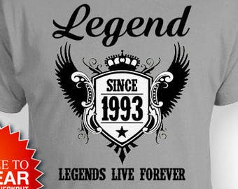 25th birthday shirt birthday outfit personalized birthday gift ideas for him bday present for her legend since 1993 mens ladies tee bg515