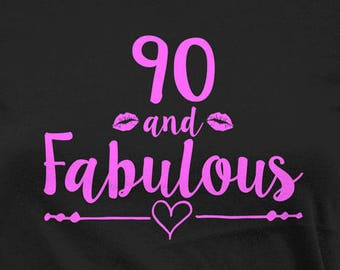 Funny Birthday Shirt 90th T Bday Gift Ideas For Women Grandma TShirt Custom Age B Day 90 And Fabulous Ladies Tee