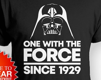 Personalized Birthday T Shirt 90th Gift For Nerd TShirt Movie Fan Bday Present B Day With The Force Since 1929 Mens Tee