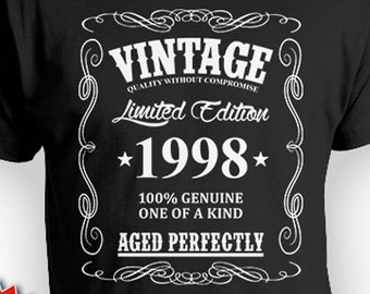 21st Birthday Shirt For Him Bday Gift Idea Men T Custom Vintage Born In 1998 Aged Perfectly Mens Tee