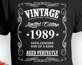Funny Birthday Shirt 30th Gift Idea For Him Bday T Custom TShirt Present Vintage Born In 1989 Aged Perfectly Mens Tee