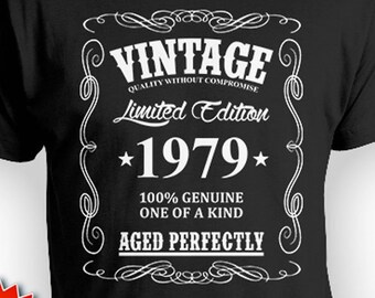 40th Birthday Gift For Him T Shirt Bday Present Custom B Day Idea Vintage Born In 1979 Aged Perfectly Mens Tee