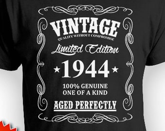 75th Birthday T Shirt Gifts For Him Personalized Bday Gift Ideas Vintage Born In 1944 Aged Perfectly Mens Tee