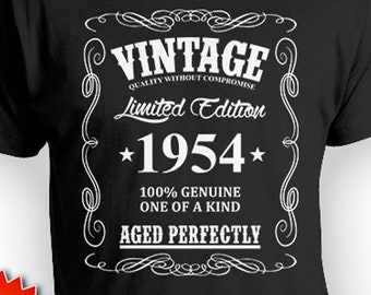 Custom Birthday Shirt 65th T Bday Gifts Personalized Year B Day Vintage Born In 1954 Aged Perfectly Mens Tee