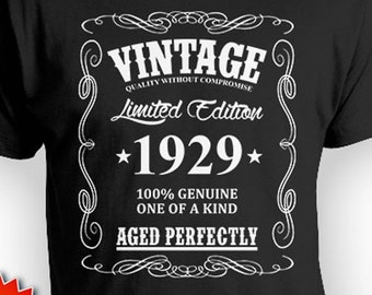 90th Birthday T Shirt Gift Ideas For Men Custom Him Bday Present Vintage Born In 1929 Aged Perfectly Mens Tee