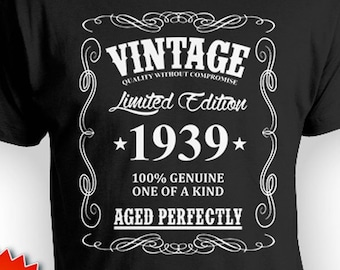 80th Birthday Gifts For Men T Shirt Present Him Bday Custom Vintage Born In 1939 Aged Perfectly Mens Tee