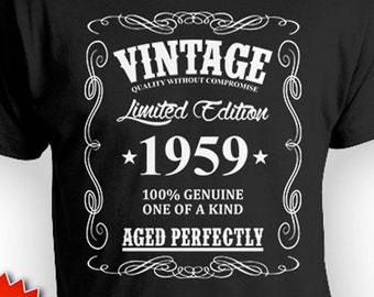 60th Birthday Gift Ideas For Him T Shirt Custom Bday Present Vintage Born In 1959 Aged Perfectly Mens Tee