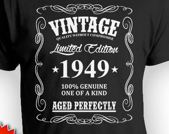 f2cd4125 Personalized Birthday Shirt 70th Birthday T Shirt Birthday Gifts For Him  Bday Gift Ideas Custom Vintage Born In 1949 Aged Perfectly Mens Tee