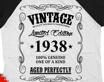 80th Birthday Gift Ideas For Men Bday T Shirt Custom Year Personalized TShirt B Day Vintage 1938 Aged Perfectly Raglan Tee