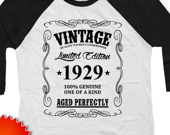 675c74f2c 90th Birthday Shirt Personalized Gift Ideas Custom Year Bday T B Day Raglan  Sleeves Vintage 1929 Aged