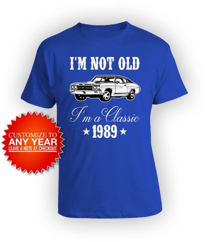 30e anniversaire chemise Bday cadeaux pour lui T papa anniversaire T lui Shirt personnalisé année B jour TShirt je ne suis pas vieux, je suis un classique 1989 anniversaire Mens Tee a35566