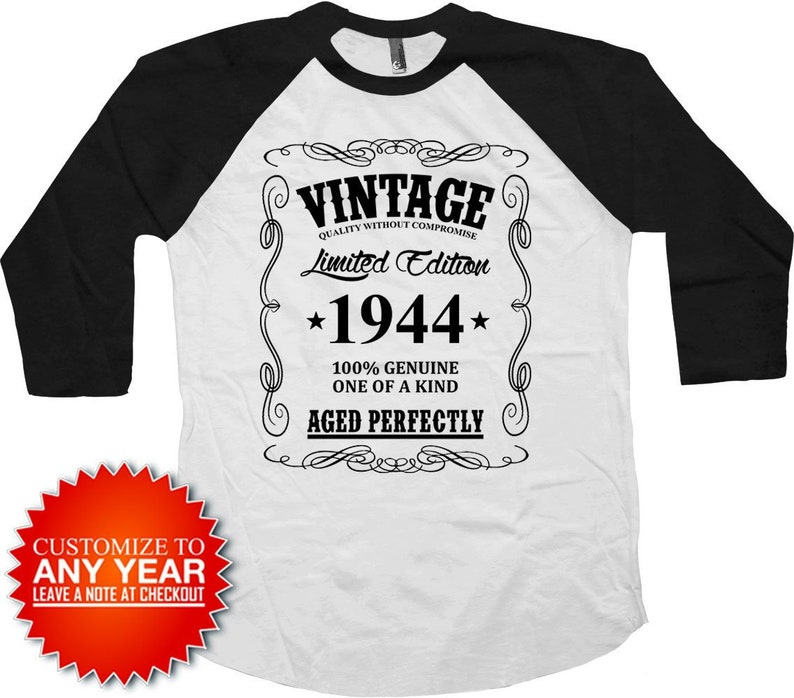 75th Birthday T Shirt Baseball Raglan Bday Present Personalized TShirt Gift For Men Vintage 1944 Aged Perfectly Tee