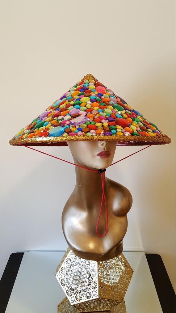 Burning Man Costume Fiesta Rainbow Pom Pom Conical Hat Festival Hat Pride Hat Burning Man Hat Burning Man Headpiece Burning Man
