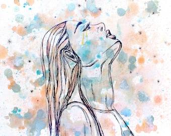 Dreamer, Giclee Print, Abstract Art, Watercolor, India Ink, Splatter Painting, Artwork Print, Watercolor Woman, Star Gazer