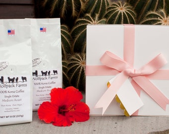 100% Kona Coffee Gift Box for Mother's Day, Birthdays, Anniversaries, All Occasions, Free Shipping