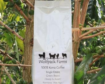 100% Kona Coffee, Ready to Roast, Whole Beans, Single Estate, 4 pounds, Free Shipping