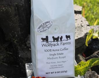 100% Kona Coffee, Single Estate, Award Winning, Medium Roast, Whole Beans, 8 oz, Free Shipping