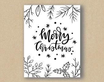 Merry Christmas Foliage - Holiday Card - Greeting Card - Christmas Card