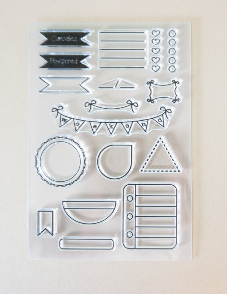 icon planner stamps border photopolymer clear stamps functional TABS