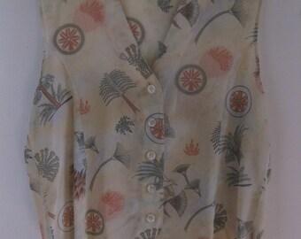 Vintage 80s silk vest size large