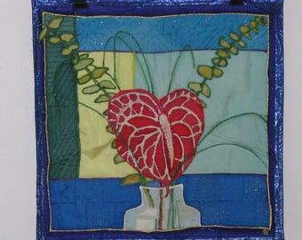 Strking Arthurium flower art textile: Wall hanging or...hand sewn (with help of a machine)