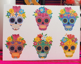 Sugar Skull Day of the dead card